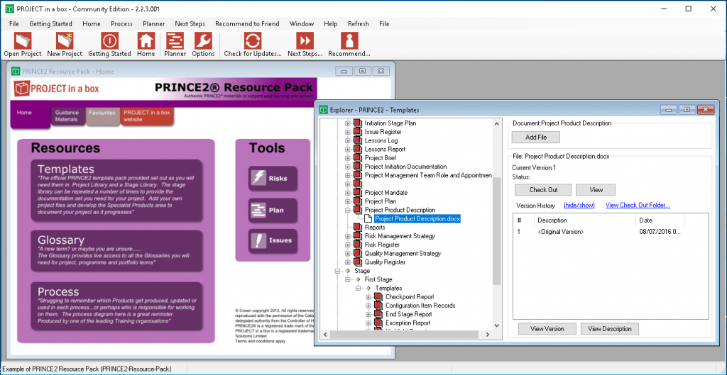 PRINCE2 Tools; Prince2 software; document management