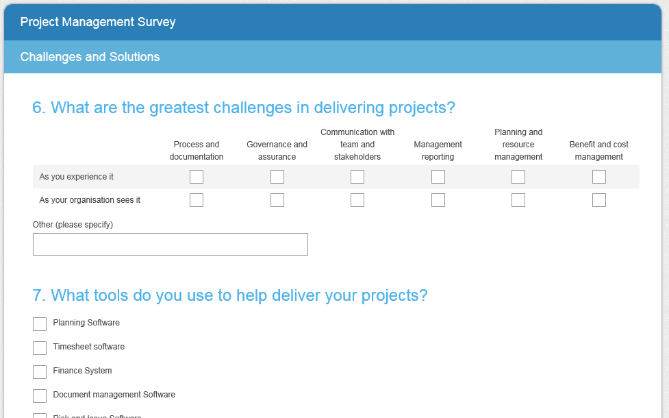 project management survey; prince2 software