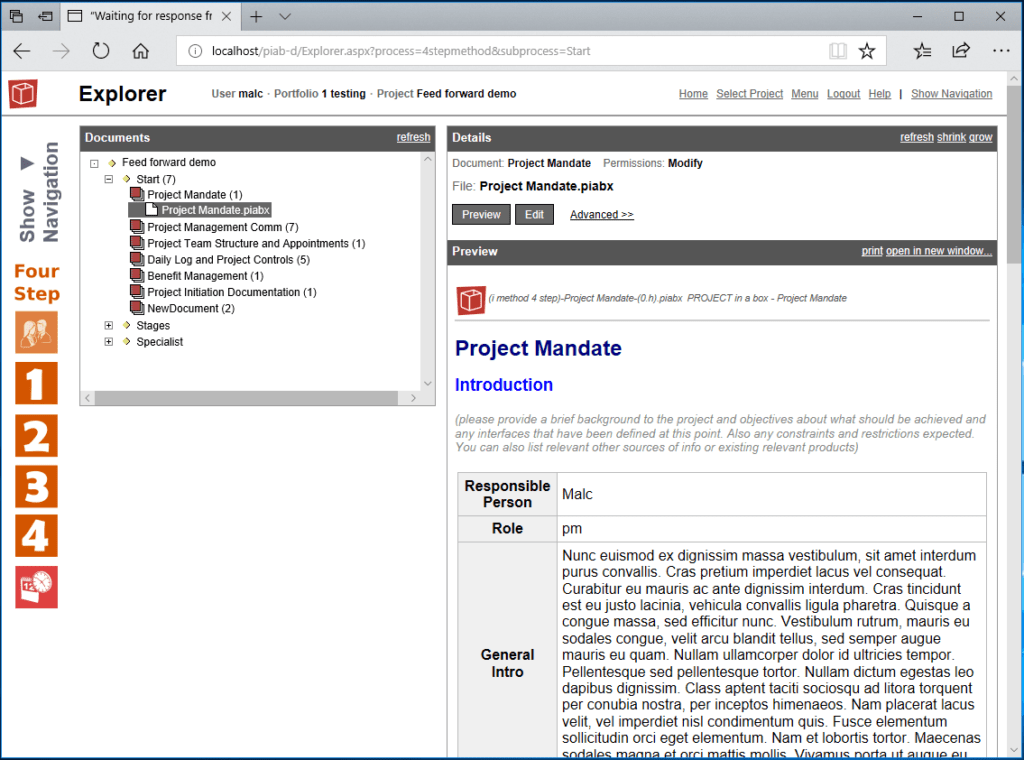 browser preview pane