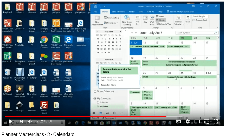 planner calendars; outlook integration